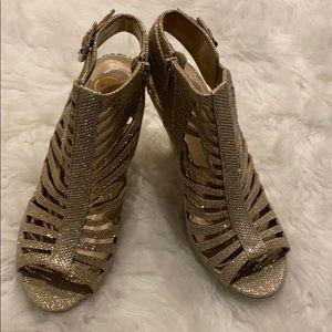 Glittery gold open toe heels